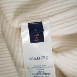 Louis Vuitton Cream Wool & Cashmere Half Zip Turtleneck Sweater L