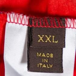 Louis Vuitton Red & Blue Masai Damier Printed Cotton Crewneck T-Shirt XXL