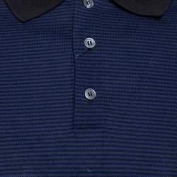 Louis Vuitton Blue and Black Horizontal Striped Cotton Pique Polo T-Shirt M