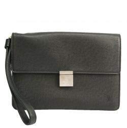 Louis Vuitton Ardoise Taiga Leather Selenga Men's Clutch Bag
