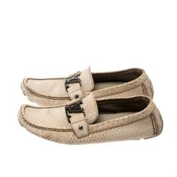 Louis Vuitton Beige Python Leather Monte Carlo Loafers Size 42