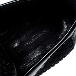 Louis Vuitton Black Patent Leather And Woven Satin Penny Slip On Loafers Size 40