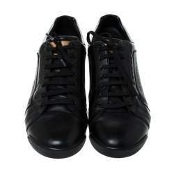Louis Vuitton Black Leather Lace Up Sneakers Size 44