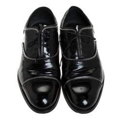 Louis Vuitton Black Patent Leather Lace Up Oxfords Size 41.5