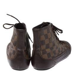 Louis Vuitton Damier Ebene Canvas And Brown Leather Lace Up High Top Sneakers Size 40
