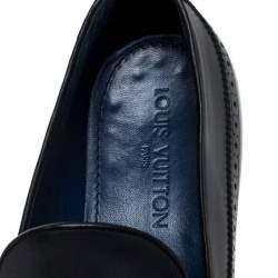 حذاء لوفرز لوي فيتون مزين دلاية شراشيب و بروغي جلد أزرق داكن مقاس 42.5