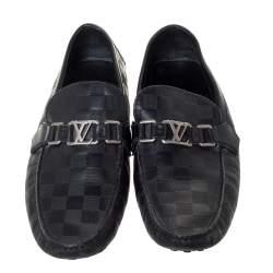 Louis Vuitton Black Damier Embossed Leather Hockenheim Loafer Size 42