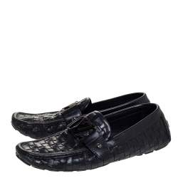 Louis Vuitton Black Woven Leather Monte Carlo Loafers Size 41