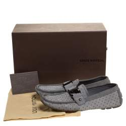Louis Vuitton Grey Cutout Suede And Leather Monte Carlo Loafers Size 40.5