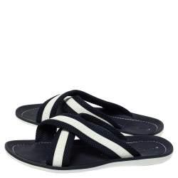 Louis Vuitton Blue/White Canvas And Rubber Trim Cross Strap Flat Slides Size 43
