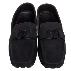 Louis Vuitton Black Suede Monte Carlo Slip On Loafers Size 43.5