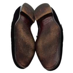 Louis Vuitton Black Checkered Suede Smoking Slippers Size 44.5