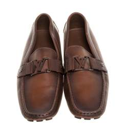Louis Vuitton Ombre Brown Leather Monte Carlo Loafers Size 45