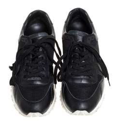Louis Vuitton Black Mesh And Leather Monogram Canvas Run Away Lace Up Sneakers Size 39