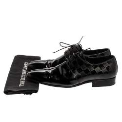 Louis Vuitton Patent Leather Damier Embossed Lace Up Derby Size 41