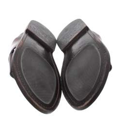 Louis Vuitton Ombre Burgundy Leather Foch Cross Strap Flat Slides Size 41.5