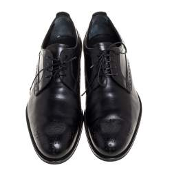 Louis Vuitton Black Brogue Leather Lace Up Derby Size 42.5