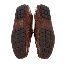 Louis Vuitton Brown Woven Leather Monte Carlo Slip On Loafers Size 43