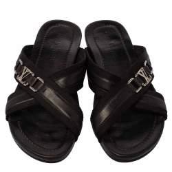 Louis Vuitton Black Leather And Canvas Criss-Cross Flat Sandals Size 46.5