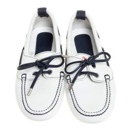 Louis Vuitton White/Navy Blue Leather LV Cup Loafers Size 41.5