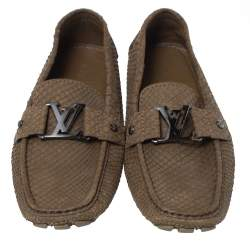 Louis Vuitton Brown Python Monte Carlo Loafers Size 41.5