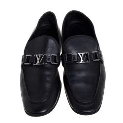 Louis Vuitton Black Leather Logo Slip On Loafers Size 41