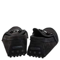 Louis Vuitton Black Suede Major Logo Slip On Loafers Size 41.5