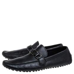 Louis Vuitton Black Grained Leather Major Logo Slip On Loafers Size 41.5