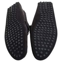 Louis Vuitton Black Suede Major Logo Slip On Loafers Sie 41.5