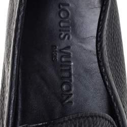 Louis Vuitton Black Leather Hockenheim Logo Detail Slip On Loafers Size 43