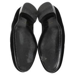 Louis Vuitton Black Velvet Embroidered Auteuil Loafers Size 42