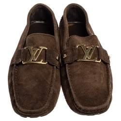 Louis Vuitton Brown Suede Monte Carlo Loafers Size 44