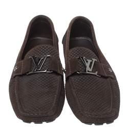 Louis Vuitton Brown Suede Damier Ebene Check Monte Carlo Loafers Size 42