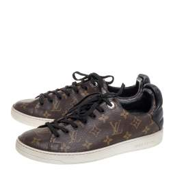 Louis Vuitton Brown Monogram Canvas and Black Leather Frontrow Low Top Sneakers Size 41