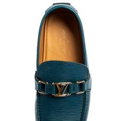 Louis Vuitton Blue/Black Leather Major Loafers Size 40.5