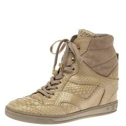 Louis Vuitton Beige Monogram Suede And Python Cliff Top Sneaker Boots Size 39