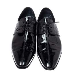 Louis Vuitton Patent Leather Damier Embossed Lace Up Derby Size 42