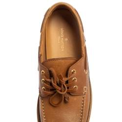 Louis Vuitton Brown Monogram Leather Summerland Boat Moccasins Size 40.5