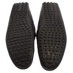 Louis Vuitton Black Damier Embossed Leather Hockenheim Slip On Loafers Size 42