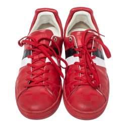 حذاء رياضى لوى فيتون إنفينى فرونترو دامييه جلد وسويدى أحمرمقاس 42