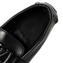 Louis Vuitton Black Glossy Leather Montaigne Moccasins Size 39.5