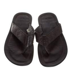 Louis Vuitton Brown Leather Thong Slide Sandals Size 44.5