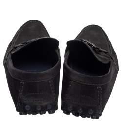 Louis Vuitton Navy Blue Suede Hockenheim Loafers Size 43