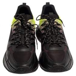 Louis Vuitton Black/Green Leather and Mesh Run Away Pulse Sneakers Size 44