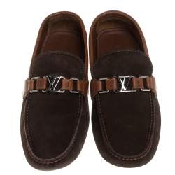 Louis Vuitton Brown Suede And Leather Monte Carlo Loafers Size 42