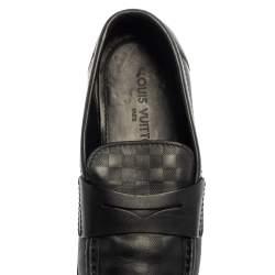 Louis Vuitton Black Damier Embossed Santiago Loafers Size 41.5