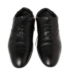 Louis Vuitton Black Damier Embossed Leather Lace Up Oxfords Size 45