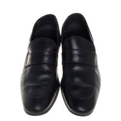 Louis Vuitton Black Leather Logo Perforated Slip On Loafers Size 40