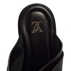 Louis Vuitton Black Leather Foch Cross Strap Flat Slides Size 43