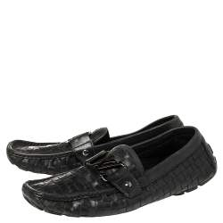 Louis Vuitton Navy Blue Woven Leather Monte Carlo Loafers Size 42
